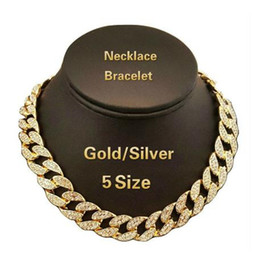 Finished silver chains online shopping - Iced Out Bling Rhinestone Crystal Gold Finish Miami Cuban Link Chain Men s Hip Hop Necklace Jewelry Inch