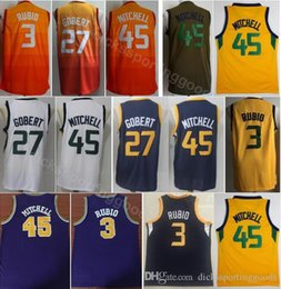6c9064ef9 College Basketball 27 Rudy Gobert Jersey City Edition 45 Donovan Mitchell 3  Ricky Rubio Jerseys Orange Navy Blue White Yellow Team Color