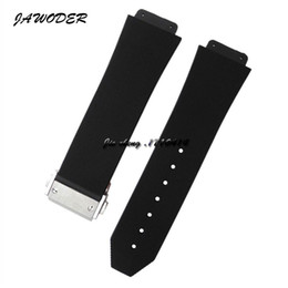 Dive Watches For Men Australia - JAWODER Watchband 23mm 26mm Men Stainless Steel Deployment Clasp Black Diving Silicone Rubber Watch Band Strap for HUB Big Bang