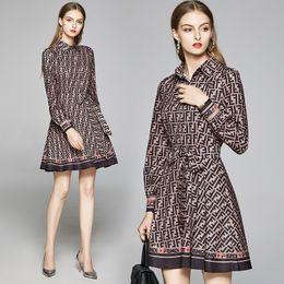 Womens High-end Dress Long Sleeve OL Shirt Dress Summer Autumn Printed Dress Fashion Boutique Girl Dresses on Sale