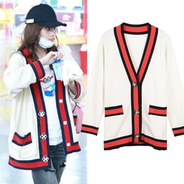 Pearl Coating NZ - Pearl GC Womens V-Neck Cardigan Sweaters Red Striped Long Sleeve Sweaters Fashion Knit Single Breasted Coat