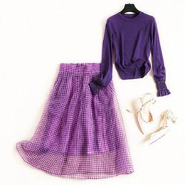 $enCountryForm.capitalKeyWord Australia - New 2019 Autumn Winter Womens Lurex Knit Sweater Tops Long Sleeve Pullovers Purple + Ball Gown Skirt Suits Cute Two Piece Set