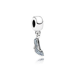 tv slippers UK - NEW 100% 925 Sterling Silver 1:1 791470CFL CINDERELLA'S SPARKLING SLIPPER HANGING Charm Original Women Wedding Fashion Jewelry