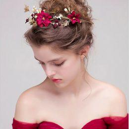 Or Coton Rouge Couleur Bijoux De Cheveux Fleur Femmes Bandeaux Main Perle  De Mariage Diadèmes De Mariée Cheveux Accessoires Couronne Cheveux