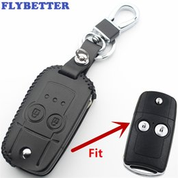 honda fit keys Australia - FLYBETTER Genuine Leather 2Button Flip Remote Key Case Cover For Honda CRV City Accord Fit Odyssey Car Styling L407