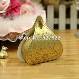 Peach Gift Boxes NZ - 100pcs European Romantic Gold Peach Heart Wedding Candy Boxes Wedding Favours Box Gift Boxes Free Shipping