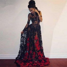 sexy see through dresses pictures NZ - Sexy Illusion Black Lace Prom Dresses With Red Appliques 2019 Fashion See-Through Prom Gowns Full Sleeves Vestido De Festa Longo