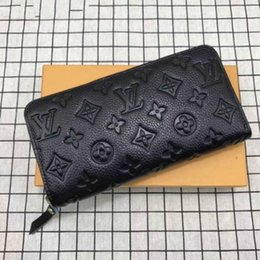 leather ladies UK - Wholesale Long Zip Wallet Women Classic Plaid Long Zipper Pocket Designer Men Coin Purse Card Holder