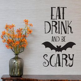 $enCountryForm.capitalKeyWord Australia - Bat Wall Decals EAT DRINK OR SCARY Wall Sticker Quotes PVC Halloween Wall Art Sticker Murals for Living Room Bedroom Home Decor