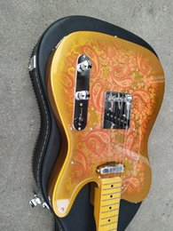 guitar tele black NZ - Custom Masterbuilt Dale Wilson 1969 Tribute Gold Burst Paisley Tele Electric Guitar, Maple Fingerboard & Black Dot Inlay, Vintage Tuners