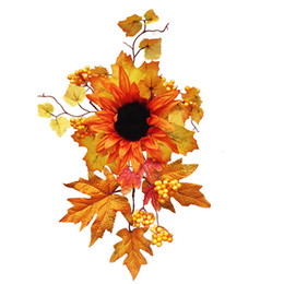 halloween wall backdrop Australia - Festival Fake Sunflower Ornament Halloween Party Home Decor Romantic Wall Hanging Backdrop Artificial Flower Simulation Gift