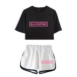 $enCountryForm.capitalKeyWord Australia - New Blackpink Two Piece Set Summer Sexy Cotton Printed T Shirt Album Woman Suit Shorts Crop Blackpink Fashion Tops+short Y19042702