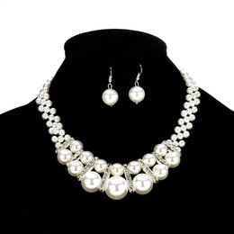 Handmade pearl crystal jewelry necklace online shopping - Imitation Pearl Jewelry Set new Elegant Classic Exaggerated Multilayer Handmade Beads collar Choker statement Necklace Women