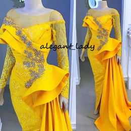 $enCountryForm.capitalKeyWord Australia - Yellow Long Sleeve Evening Pageant Dresses Lace Crystal Ruffles Detachable Train Mermaid Arabic Occasion Prom Pageant Gown