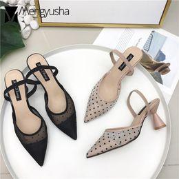 $enCountryForm.capitalKeyWord Australia - European Brand Designer Lace Sandals Polka Dot Lace Cat Heels Slippers Women Belt Wedges Sandalias Summer Shoes Ladies Flipflops MX190727