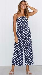 Strap Romper Women Australia - Casual Pockets Polka Dot Jumpsuits For Women Sleeveless Spaghetti Strap Streetwear Boho Romper Off Shoulder Overalls Femme