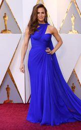 2018 azul 90 Oscar Chiffon Mermaid Longo Vestidos Ruffle Varrer celebridade Tapete Vermelho Festa Train usar vestidos longo BA4791 em Promoiio