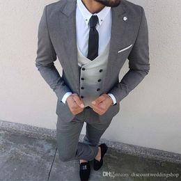 Wholesale waistcoat jackets for men resale online - Slim Fits Grey Man Work Business Suits Peak Lapel Tuxedos For Groom Double Breasted Waistcoat Trousers Set Jacket Pants Vest Tie J872