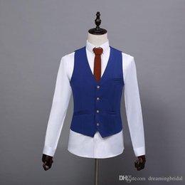 $enCountryForm.capitalKeyWord NZ - Custom Made Solid Groom Vests 2017 New Polyester Slim Single breasted Regular Formal Wedding Gown Wedding Vests Groomsmen Suits