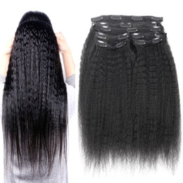 Hair Clips Ins Australia - 10pcs Kinky Straight Clip In Human Hair Extensions Brazilian Remy Hair 100% Human Natural Hair Coarse Yaki Clip Ins 100g Set