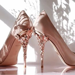 Gold hiGh pumps online shopping - Women Designer Shoes rose gold blush Comfortable Wedding Bridal Shoes Sheepskin eden Heels Shoes for Wedding Evening Party Prom Wear
