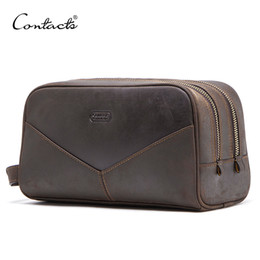 $enCountryForm.capitalKeyWord Australia - CONTACT'S crazy horse genuine leather men cosmetic bag travel toiletry bag big capacity wash bags man's make up bags organizer