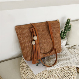 straw tote bucket bag 2019 - Women Handbag Summer Beach Bag Rattan Woven Handmade Knitted Straw Large Capacity Totes Leather Women Shoulder Bag Bohem