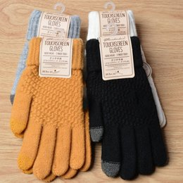 Discount men touch screen gloves - Winter Autumn Men & Women Knitted Gloves Touch Screen Male Thicken Warm Wool Cashmere Solid Gloves Men Mitten Christmas