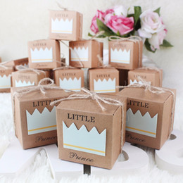 birthday princess party box NZ - 50pcs Baby Shower Candy Box Little Prince Little Princess Crown Kraft Boxes Blue Pink Candy Box for Girl Boy Birthday Favors Box