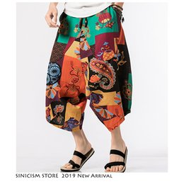 mens fashion linen pants 2019 - Sinicism Store Men Streetwear Joggers Harem Pants 2019 Mens Summer Floral Hip Hop Pants Male Cotton Linen Sweat Fashions