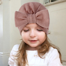 toddler hair wraps NZ - Newborn Infant Toddler Baby Cap Baby Girl Summer Hat Bow Beanie Scarf Turban Head Wrap Headwear Hair Accessories