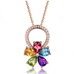 $enCountryForm.capitalKeyWord Australia - D216 Necklaces Pendant For Women Girl Fashion Long Chain Necklace Cubic Zirconia Jewelry Gift colourful flower Necklaces