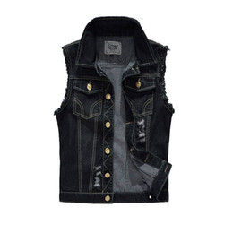 cowboy tops 2019 - 2019 Mens Denim Coats Jackets Tank Top Cowboy Male Ripped Jacket Denim Vest Mens Jackets Sleeveless Slim Black Outerwear