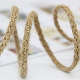 $enCountryForm.capitalKeyWord Australia - 6mm 50M Natural Burlap Hessian Jute Twine Cord Hemp Rope For Vintage Rustic Wedding Decoration Packing Supplies