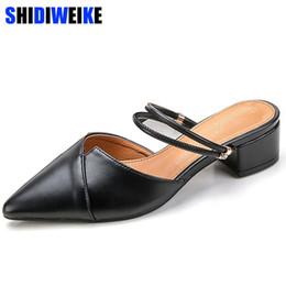 Black Blocks Australia - Dress Shoes Party Chic Women Mules Slipper Pointed Toe Block Strap Closed Shallow High Heels Sandals 2019 Black Beige Korean Pumps