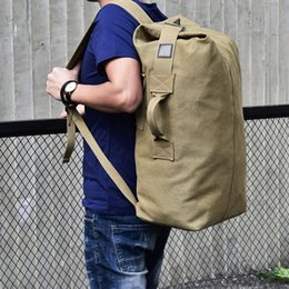 leather business backpacks for men Canada - Male Luggage Canvas Bucket Bags Men Backpacks Computer Backpack Travel Bag Large Capacity Business Bags for Outdoor Travel Rucksack new