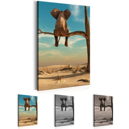 pics oil NZ - Unframed 1 Panel Large HD Printed Canvas Print Painting Elephant in Creative Desert Sits on Tree Looking at Scenery Home Decoration Wall Pic