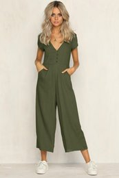 Low V Jumpsuit NZ - summer womens romper V-Neck Short Sleeve Strappy Holiday Long Playsuits Trouser Jumpsuit mamelucos womens jumpsuit x3067