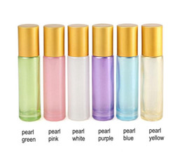 $enCountryForm.capitalKeyWord Australia - 10ml Pearlescent Glass Empty Perfume Bottle Ball Roll on Bottle for Essential Oils with Lanyard 300Pcs