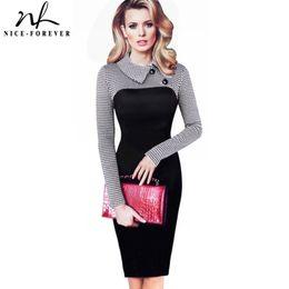 $enCountryForm.capitalKeyWord NZ - Nice-forever Elegant Vintage Fitted Winter Dress Full Sleeve Patchwork Turn-down Collar Button Business Sheath Pencil Dress B238 Y19053001