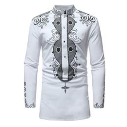 $enCountryForm.capitalKeyWord NZ - African Tribal Dashiki Longline Shirt 2018 Brand New Long Sleeve Mandarin Collar Dress Shirt Men African Clothing Camisa Hombre