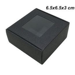 Craft Packs Australia - 6.5x6.5x3cm Black Kraft Paper Gifts Favor Party Packing Boxes for Bakery Cake Candy Paperboard Crafts Handmade Clear Window Gift Packing Box