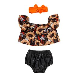 $enCountryForm.capitalKeyWord NZ - Newborn Infant Baby Girl Off Shoulder Tops Summer Clothes Set Short Set Sunflower Top Chaparejos Pants Set Toddler Girl Clothes