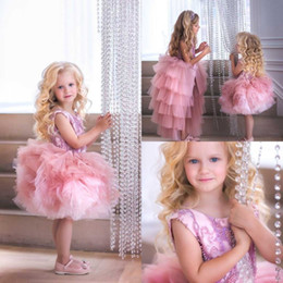 $enCountryForm.capitalKeyWord Australia - Adorable Short Flower Girls Dresses Beaded Applique Tiered Tutu Party Toddler Pageant Baby Birthday Gowns Kids First Communion Dress
