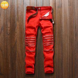 Fly Cut NZ - Pop2019 Nightclub Man Holes Knee Red Dora Chain Cut Rotten Elastic Force Cool Time Heat Sell Tide Pants