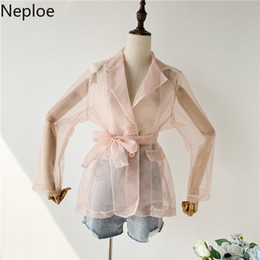 Wholesale Neploe Sexy Perspective Bow Blouses Organza Slim Waist Open Back Blusas Fashion Wild Nothed Patchwork Shirt Autumn SH190816