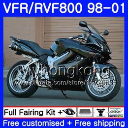 honda vfr interceptor fairings UK - Body For HONDA Interceptor VFR800R VFR800RR 98 99 00 01 259HM.1 VFR800 VFR 800RR VFR 800 RR Glossy black hot 1998 1999 2000 2001 Fairing kit