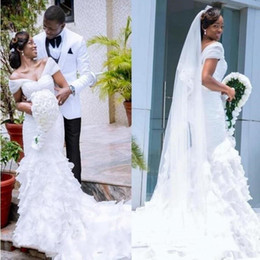 $enCountryForm.capitalKeyWord Australia - 2019 African Mermaid Wedding Dresses Sexy V-Neck Backless Tiered Organza Cathedral Train White Plus Size Bridal Gowns Customized