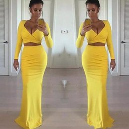 sexy tight t shirts NZ - Sexy African Black Girls Yellow Prom Dresses Long Sleeves Two Pieces Tight Formal Evening Gowns Party Dress Cheap