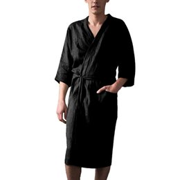 black cotton bathrobe UK - Plus Size Black Long Sleeve Chinese Men Cotton Linen Rayon Robes Gown Summer Kimono Bathrobe Sleepwear Nightwear Pajamas 4XL 2#